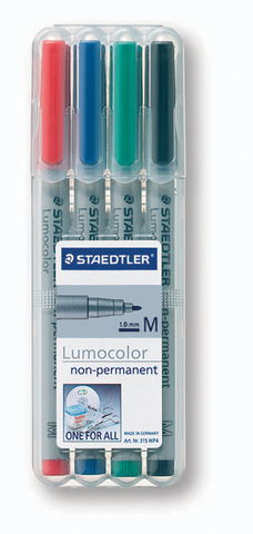 OH-Stift, Lumocolor® 315, M, non-perm., 1 mm, Schreibf.: 4er so