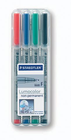 OH-Stift, Lumocolor® 316, F, non-perm., 0,6 mm, Schreibf.: 4er so