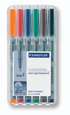 OH-Stift, Lumocolor® 316, F, non-perm., 0,6 mm, Schreibf.: 6er so