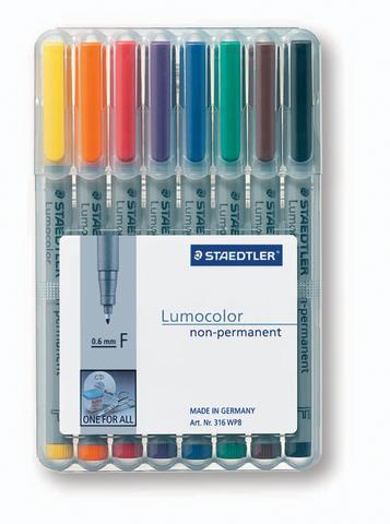OH-Stift, Lumocolor® 316, F, non-perm., 0,6 mm, Schreibf.: 8er so