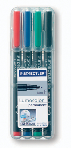 OH-Stift, Lumocolor® 318, F, perm., 0,6 mm, Schreibf.: 4er so