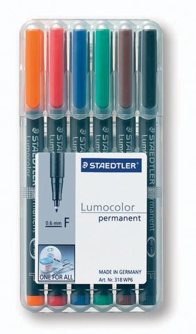 OH-Stift, Lumocolor® 318, F, perm., 0,6 mm, Schreibf.: 6er so