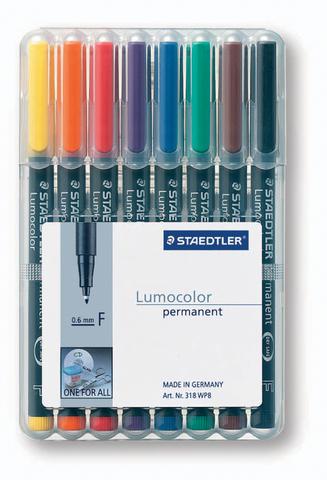 OH-Stift, Lumocolor® 318, F, perm., 0,6 mm, Schreibf.: 8er so