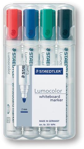 Boardmarker Lumocolor® 351, Rundspitze, 2 mm, Schreibf.: 4er sortiert