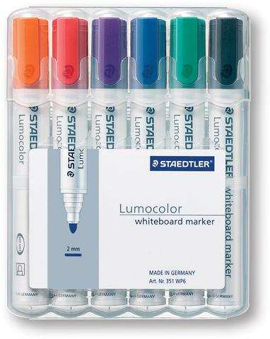 Boardmarker Lumocolor® 351, Rundspitze, 2 mm, Schreibf.: 6er sortiert