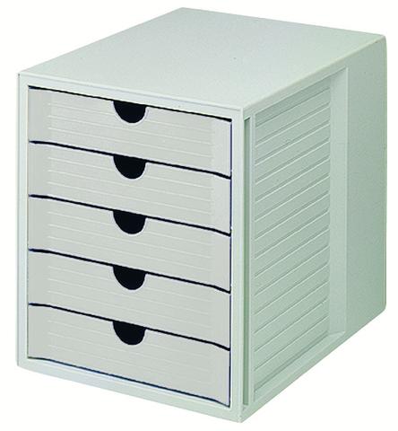 Schubladenbox, PS, m. 5 geschl. Schubladen, A4, 275x330x320mm, lgr