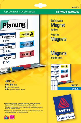 Etikett, magnetisch, I, Bg., Pap., 110g/m², 50x140mm, weiß