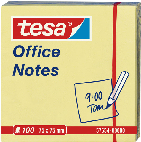 Haftnotiz Office Notes, 75x75mm, gelb, 100Bl.