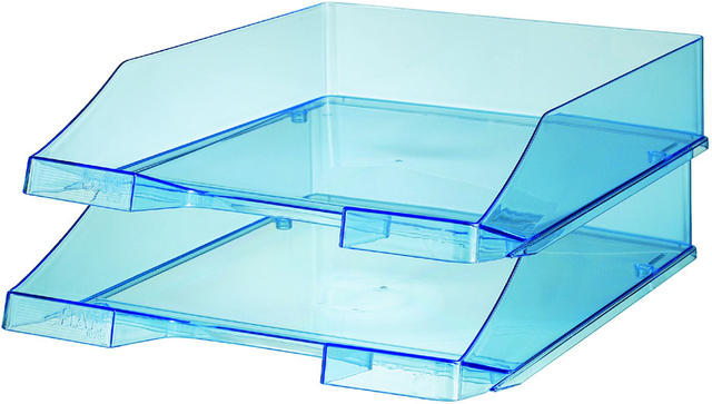 Briefkorb, PS, C4, 255x348x65mm, blau, transparent