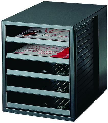 Schubladenbox, PS, mit 5 offenen Schubladen, A4, 275x330x320mm, sw