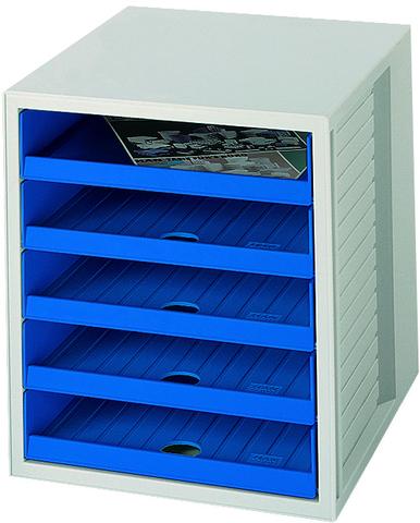 Schubladenbox, PS, mit 5 offenen Schubladen, A4, 275x330x320mm, gr/bl