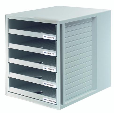 Schubladenbox, PS, mit 5 offenen Schubladen, A4, 275x330x320mm, lgr