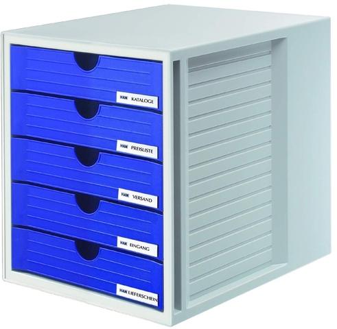 Schubladenbox, PS, m. 5 geschl. Schubladen, A4, 275x330x320mm, gr/bl