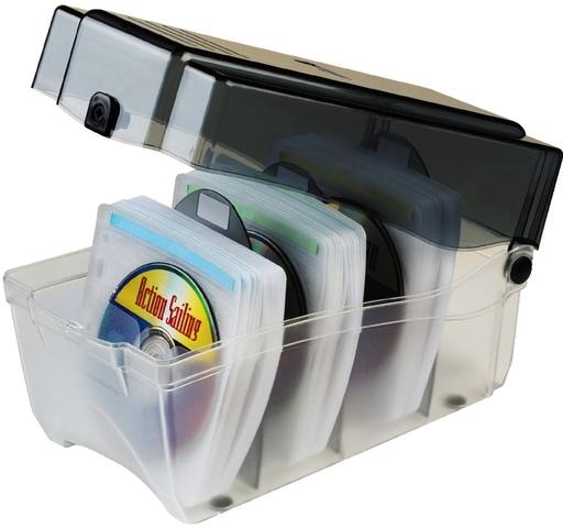 CD-Box, m.Schloss, Kst., 160x300x170mm, für: 150CDs, farbl./graphit