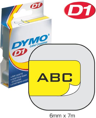 Schriftbandkassette, D1, 6 mm x 7 m, schwarz auf gelb