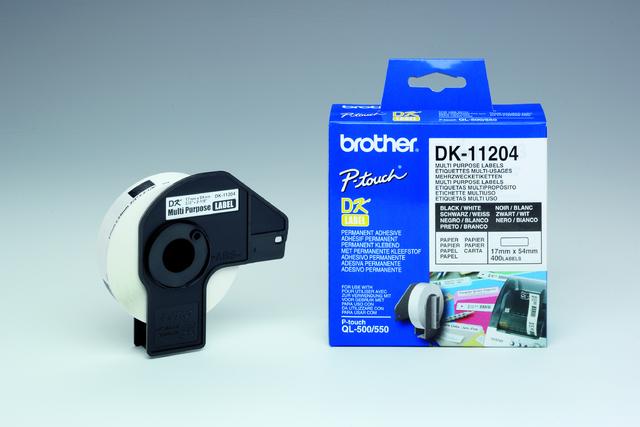 Etikett, Rolle, DK-11204, sk, Papier, 54x17mm, weiß