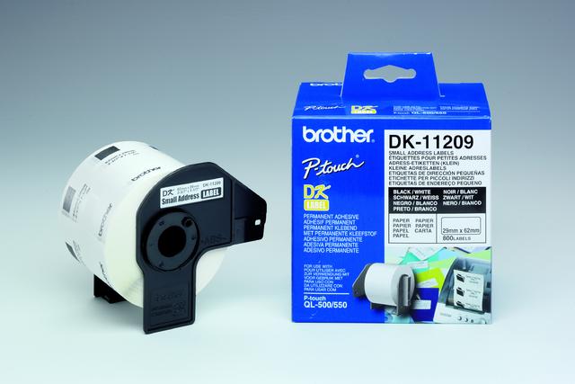Etikett, Rolle, DK-11209, Adressen, sk, Papier, 62x29mm, weiß