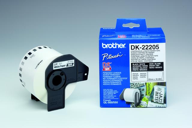 Etikett, Rolle, endlos, DK-22205, sk, Papier, 62mmx30,48m, weiß