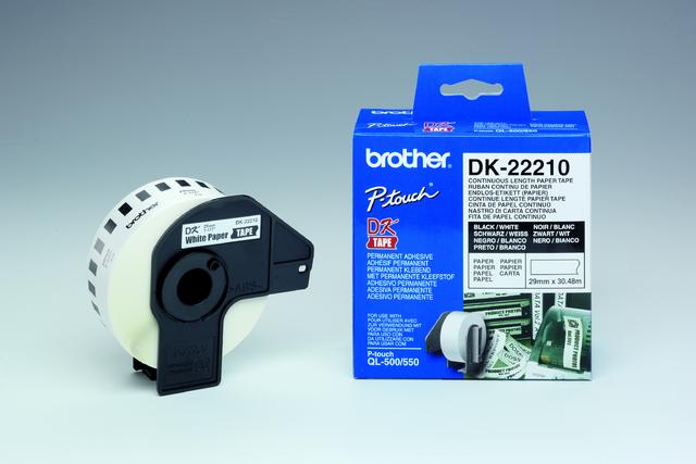 Etikett, Rolle, endlos, DK-22210, sk, Papier, 29mmx30,48m, weiß