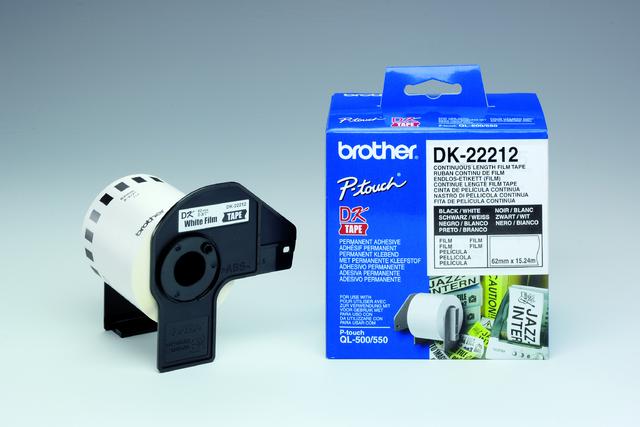 Etikett, Rolle, endlos, DK-22212, sk, Folie, 62mmx15,24m, weiß