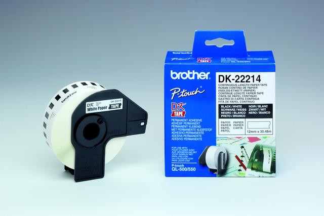 Etikett, Rolle, endlos, DK-22214, sk, Papier, 12mmx30,48m, weiß