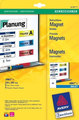 Etikett, magnetisch, I, Bg., Pap., 110g/m², 210x297mm, weiß