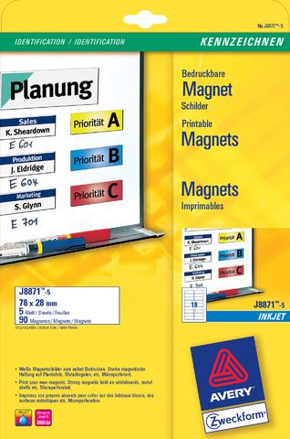 Etikett, magnetisch, I, Bg., Pap., 110g/m², 78x28mm, weiß