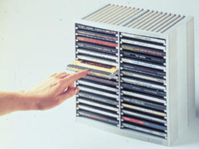 CD-Ablage Spring, 265x165x260mm, für: 48CDs, platingrau