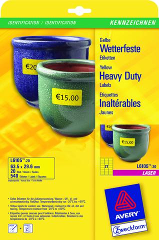 Etikett, L/K, A4-Bg., sk, PE-Folie, 99,1x42,3mm, gelb