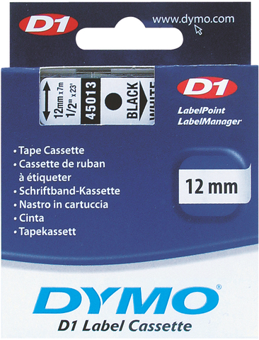Schriftbandkassette, D1, 12 mm x 7 m, schwarz auf weiß