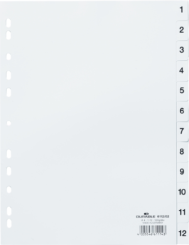 Register, 1 - 12, Universallochung, A4, vo.Höhe, 12 Blatt, weiß