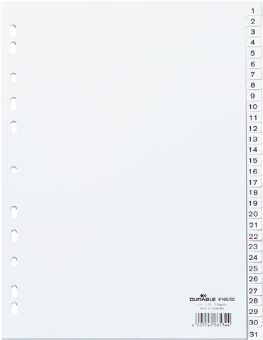 Register, 1 - 31, Universallochung, A4, vo.Höhe, 31 Blatt, weiß
