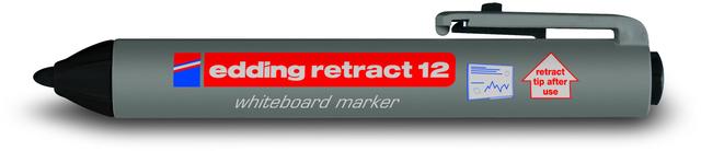 Boardmarker retract 12, Rundspitze, 1,5 - 3 mm, Schreibf.: schwarz
