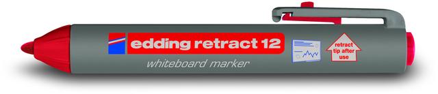 Boardmarker retract 12, Rundspitze, 1,5 - 3 mm, Schreibf.: rot