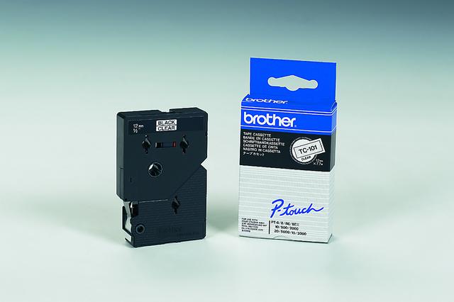 Schriftbandkassette TC, 12mmx7,7m, schwarz auf farblos