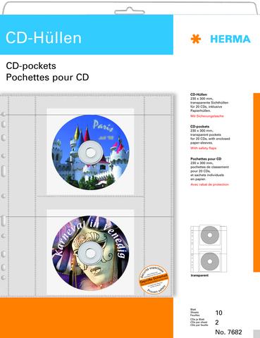 CD-Hülle, PP, für: 2 CDs, farblos, transparent