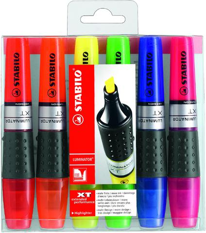 Textmarker LUMINATOR®, Keilspitze, 2 - 5 mm, Schreibf.: 6er sortiert