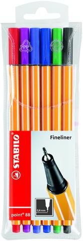 Fineliner point 88®, mit Kappe, 0,4 mm, Schreibf.: 6er sortiert