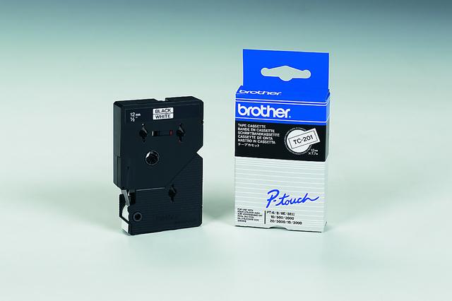 Schriftbandkassette TC, 12mmx7,7m, schwarz auf weiß