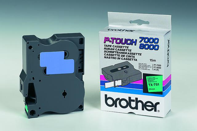 Schriftbandkassette TX, 24 mm x 15,4 m, schwarz auf grün