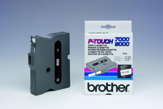 Schriftbandkassette TX, 12 mm x 15,4 m, schwarz auf weiß