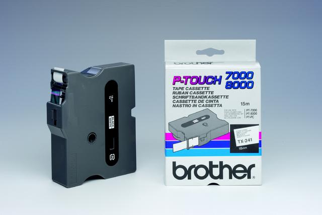 Schriftbandkassette TX, 18 mm x 15,4 m, schwarz auf weiß