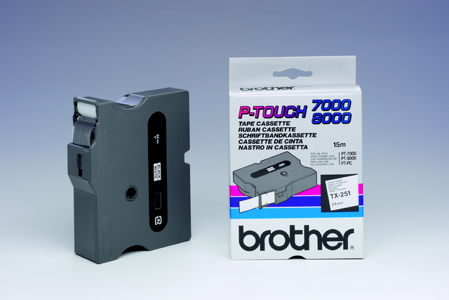 Schriftbandkassette TX, 24 mm x 15,4 m, schwarz auf weiß