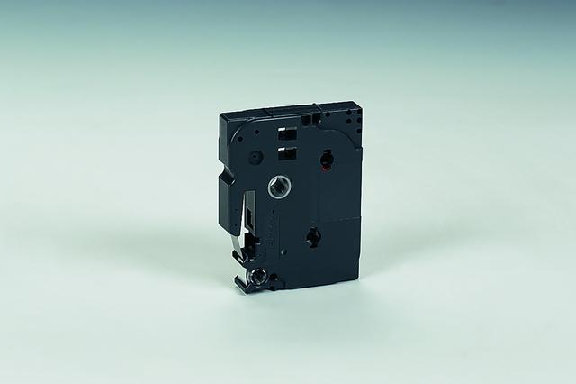 Schriftbandkassette, TZe, laminiert, 12mmx8m, schwarz auf farblos