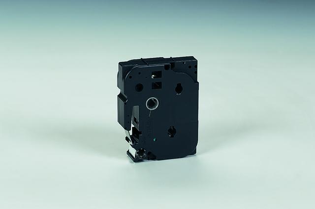 Schriftbandkassette, TZe, unlaminiert, 18mmx8m, schwarz auf weiß