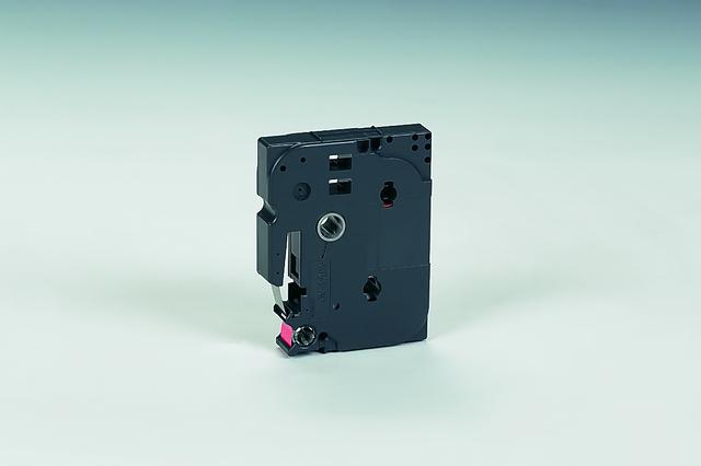 Schriftbandkassette TZe, PES, laminiert, 12 mm x 8 m, schwarz auf rot