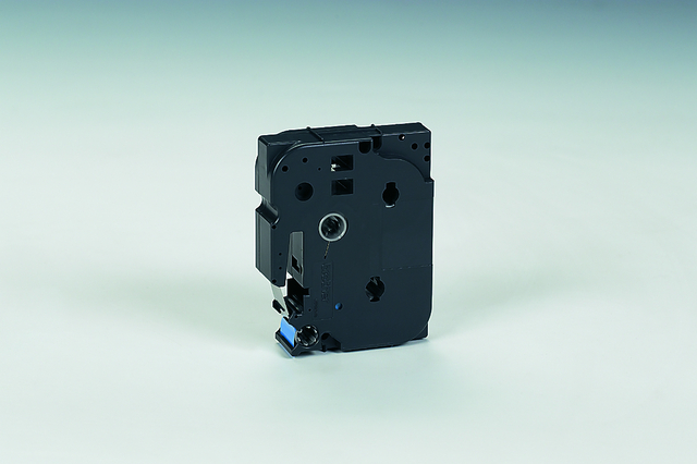 Schriftbandkassette, TZe, laminiert, 18mmx8m, schwarz auf blau