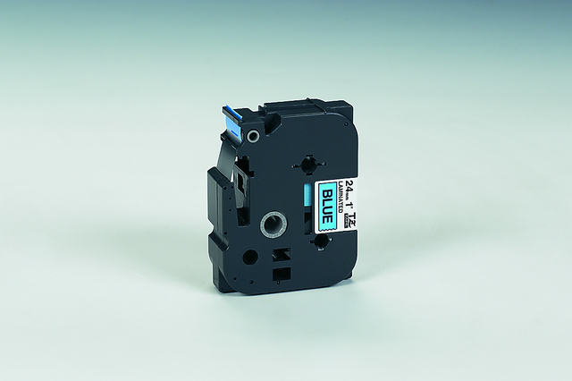 Schriftbandkassette, TZe, laminiert, 24mmx8m, schwarz auf blau