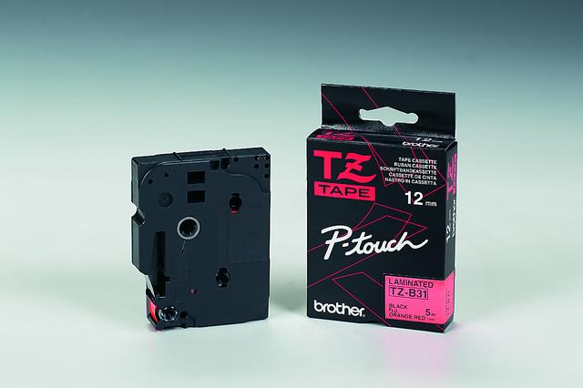 Schriftbandkassette, TZe, laminiert, 12mmx5m, schwarz auf signalorange