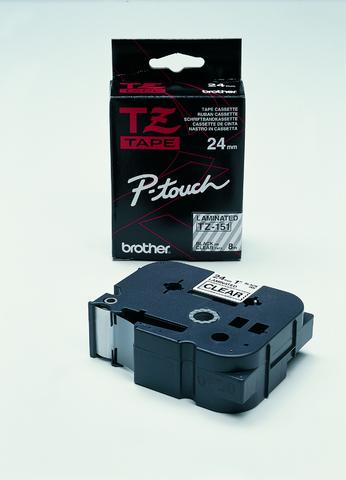 Schriftbandkassette, TZe, laminiert, 24mmx8m, schwarz auf farblos